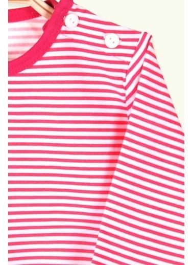 Breeze Kız Bebek Uzun Kollu Tişört Patlı Çizgili Fuşya (9 Ay-3 Yaş) Fuşya